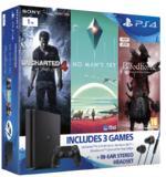PS4 Slim 1TB + Uncharted 4 + No Man's Sky + Bloodborne GOTY + Auricolari In-Ear
