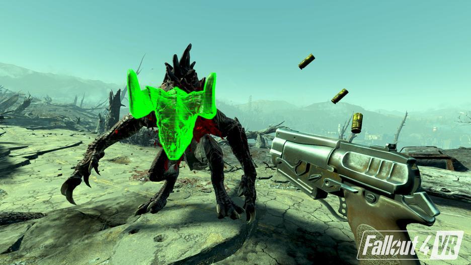 Deathclaw che insegue un giocatore, rigorosamente in VR.