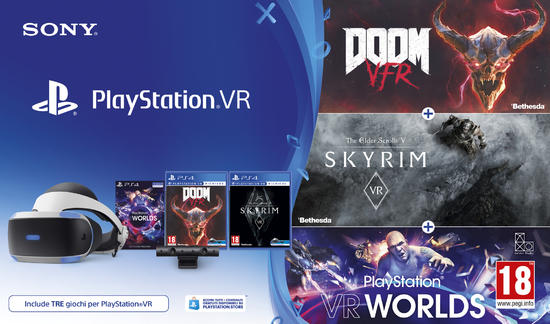 PlayStation VR Tri-Pack (PlayStation VR Worlds + Skyrim VR + Doom VFR)