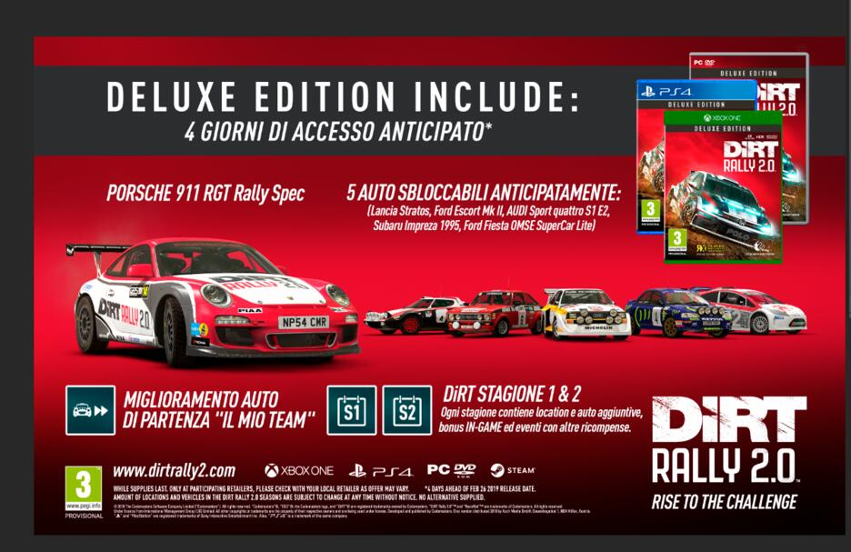 dirt rally 2 0 deluxe edition gamestop italia. Black Bedroom Furniture Sets. Home Design Ideas